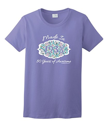 80th Birthday Gifts For Mom Gift Made 1938 Paisley Crest Ladies T Shirt Large Violet