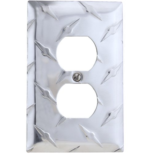Amerelle 955D Garage Diamond Cut Aluminum Wall plate with 1 Duplex Outlet