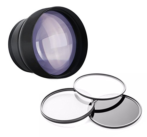 Sony FDR-AX100 2.2x High Definition Super Telephoto Lens + 62mm 3 Piece Filter Kit + Zeiss Cloth by Digital Nc