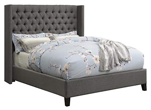 (Benicia Upholstered California King Bed with Demi-wings and Button Tufting Grey)
