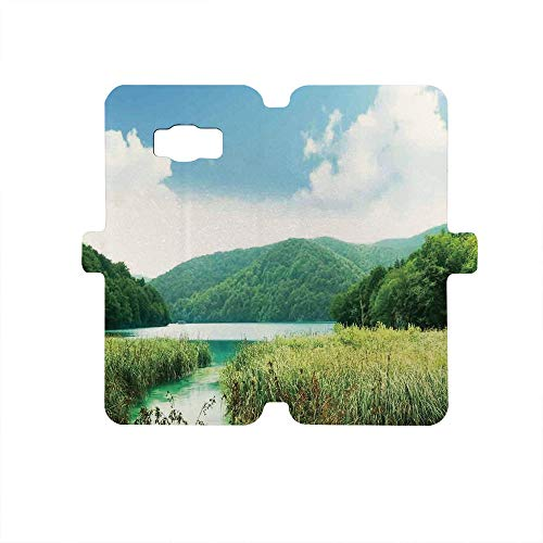 Painted Galaxy S8 Case - Premium Protective Cover Phone Cases for Girls,Lake House Decor,Lake in Deep Forest Northern Rural Landscape with Meadows Relax Peace Art Print,Green White Blue