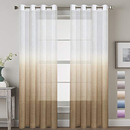 H.VERSAILTEX Living Room Sheer Curtains Home Decorative Linen Blended Ombre Window Treatment Energy Saving Nickel Grommet Curtain Panels for Bedroom/Living Room (Set of 2, Taupe, 52x84 - Inch) (Sets Room Formal Luxury Living)