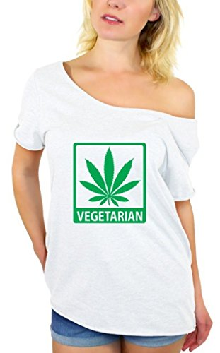 Awkwardstyles Women's Vegetarian Off Shoulder Tops T-shirt + Bookmark 2XL White