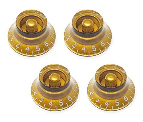 Gold Top Hat Bell Knobs for Epiphone Les Paul Import Electric Guitar (Set of 4) | Fits 18 Coarse-Spline Alpha (Metric) Split Shaft Pots by VINTAGE FORGE | BK18M-GLD4