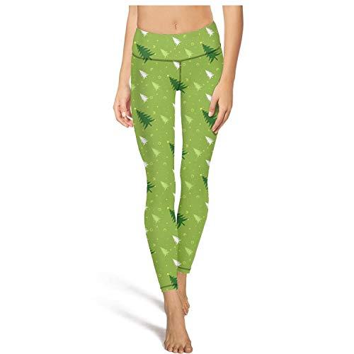 (Heertty Women's Green Christmas Tree Yoga Pants High Waist Tummy Control Workout Leggings)