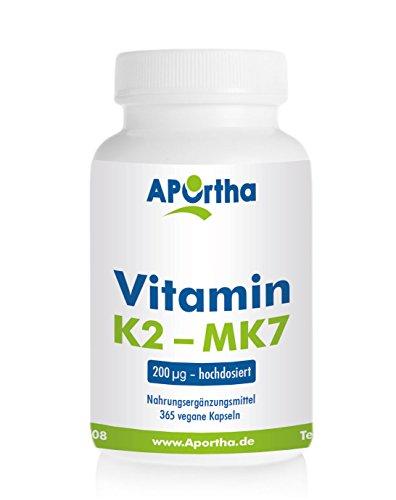Vitamin K2 - Menaquinon MK7 200 µg hochdosiert - 365 vegane Kapseln - Jahrespackung