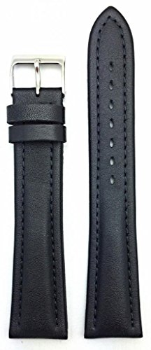 (22mm Extra Long, Black, Genuine Leather Watch Band | Soft, Medium Padded Replacement Wrist Strap that brings New Life to Any Watch (Mens X-Long Length))