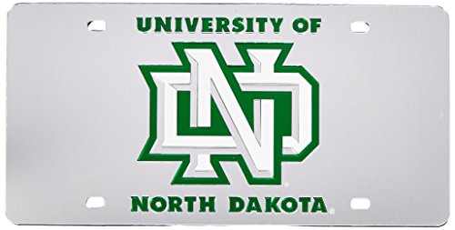 Rico Industries NCAA North Dakota Fighting Hawks Laser Inlaid Metal License Plate Tag ()