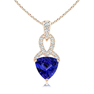 Angara Trillion Tanzanite Dangle Necklace in Rose Gold AB4wcCHwUv