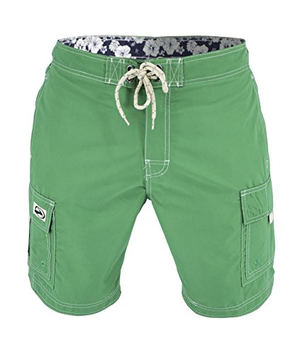 Matereek Men's Solid Color Cargo Style Microfiber Boardshorts Green X-Large