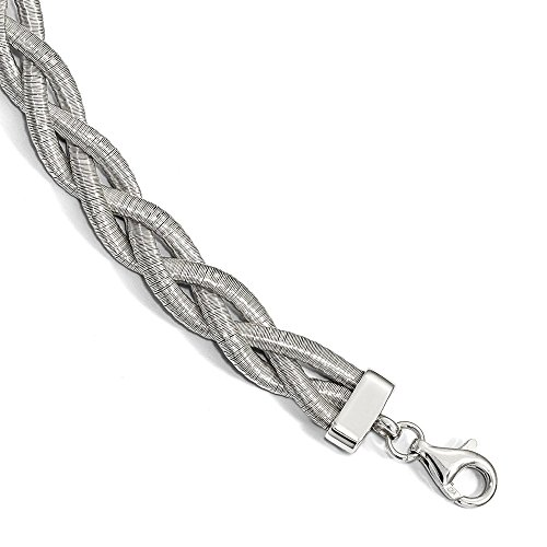 Sterling Silver Braided with 1in ext. Bracelet 7'' - with Secure Lobster Lock Clasp (9mm) by Sonia Jewels