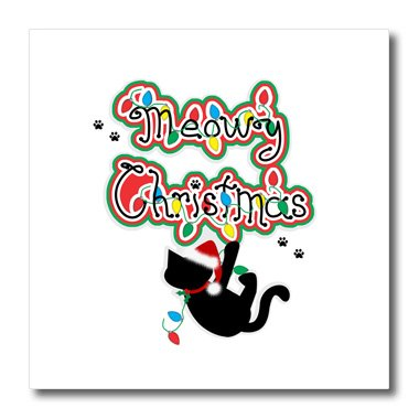 - 3dRose ht_185559_1 Fun Whimsical Meow Christmas Black Santa Kitty Cat Iron on Heat Transfer for White Material, 8 x 8