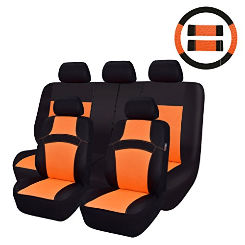 NEW ARRIVAL- CAR PASS RAINBOW Universal Fit Car Seat Cover -100% Breathable With 5mm Composite Sponge Inside,Airbag Compatible(14PCS, Sport Orange) – Go4CarZ Store