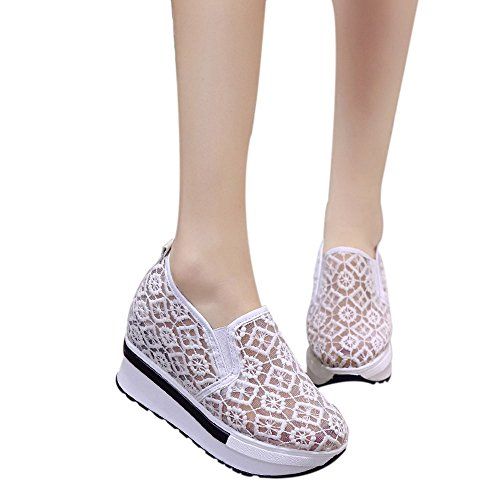 Mesh Breathable Shoe White ,Farjing Shoes Net Shoes For Casual Women Platform Sale Womens Slope Shoes Increased Clearance Thick Wqfq7P