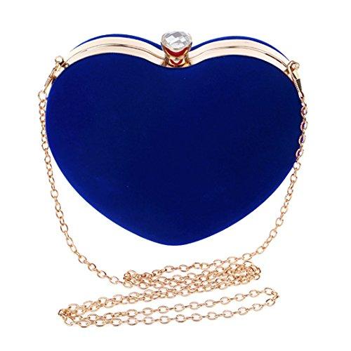 Goodbag Heart Shaped Evening Purse Velvet Clutch Purse Solid Color Evening Bag