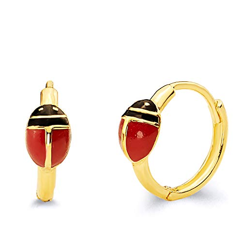 14k Yellow Gold Ladybug Huggie Earrings (10 x 10 mm) ()