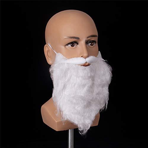 Funny White Full Beard Novelty, Realistic, Fake Christmas Mustache Costume -