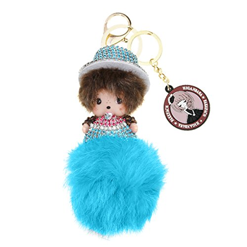 - Cute Lovely Rabbit Fur Artificial Pearl Rhinestone Diamond Monchhichi Ball Pompoms Cellphone Pendant Keychain Keyring Bag Charm Decoration Perfect Birthday Gift/Christmas Present