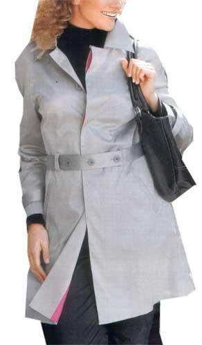 adonia mode Edelster TrenchCoat Kurzmantel Mantel Silber-Grau