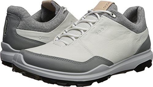 (ECCO Men's Biom Hybrid 3 Gore-Tex Golf Shoe, White/Black Yak Leather, 10 M US)