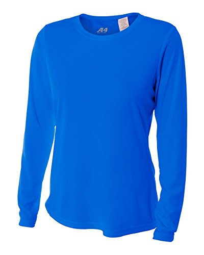 A4 Women's Cooling Performance Crew Long Sleeve T-Shirt, Royal, X-Small