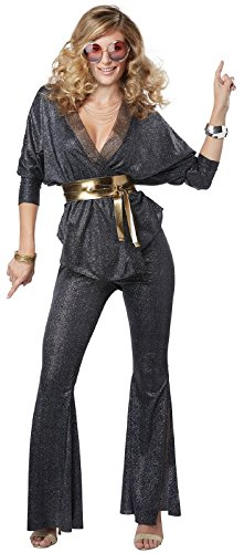 California Costumes Women's Disco Dazzler Adult Woman Costume, Black/Gold, Medium -