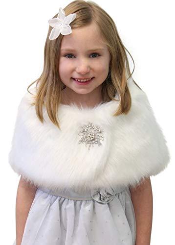 Faux Fur Wedding Wrap Flower Girl White Size Large Free Brooch