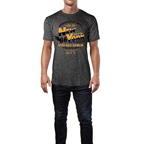 Sinus Art ® Herren T Shirt New York Vintage Denim ( Heather_Dark_Grey ) Crewneck Tee with Frontartwork