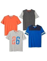 Spotted Zebra Amazon Brand Boys' 4-Pack Short-Sleeve V-Neck T-Shirts
