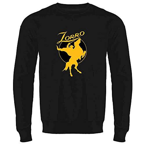 Pop Threads Zorro Moon Logo Halloween Costume Retro Black L Mens Fleece Crew Sweatshirt