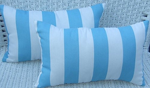 Set of 2 Indoor / Outdoor Decorative Lumbar / Rectangle Pillows - Cancun Blue & White Stripe