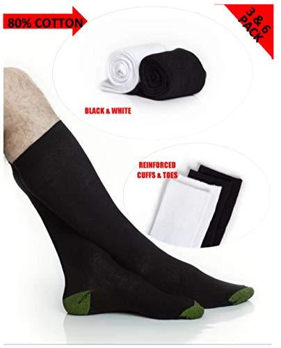 Mens Classic Cotton Over-the-Calf Socks - Boot Socks - Soccer Socks Men - Black and White - 3 Pack and 6 Pack - by Topfit (black, 3pk, ()