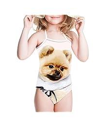 Sannovo Dog Print Children Sport Swim Suit Bikinis Beach Wear for Summer Spring