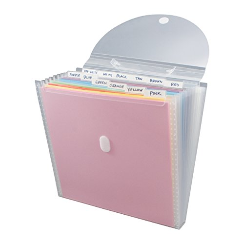 Storage Studios Expandable Paper Organizer 12 Pockets, 1.375 x 13.125 x 13.25 Inches, Clear (CH93389)