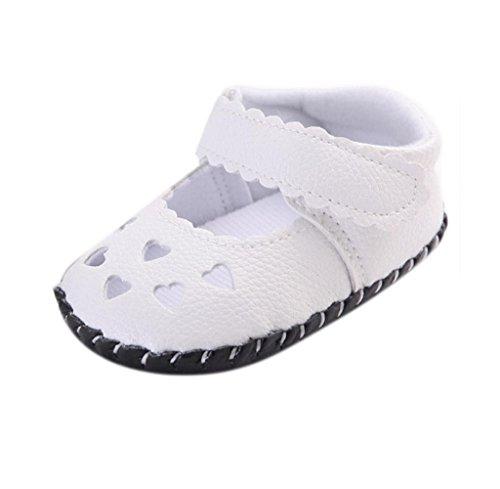 Zapatos de bebé,Tongshi Bebé Recién Nacido Niños Niñas Corazón Bordado Zapatos De Suela Suave Sandalias Blanco