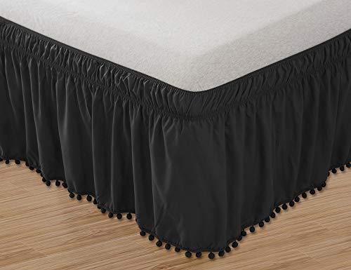 Elegant Comfort Top-Knot Tassle Pompom Fringe Ruffle Skirt Around Style Elastic Bed Wrap- Wrinkle Resistant 16inch Drop, Queen/King, Black