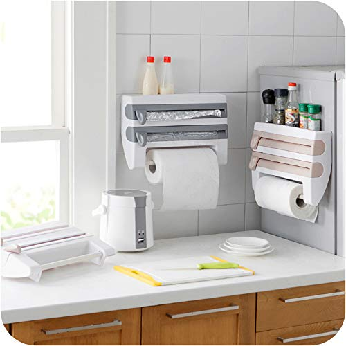 Loune WeekWrap Dispenser Kitchen Aluminum Film Cutter Paper Towel Holder Wall Mounted Roll Dispenser Cutting Foil Cling Wrap Kitchen Storage Rack