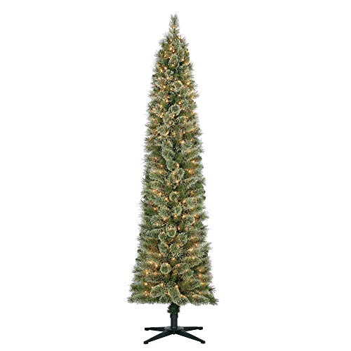 Home Heritage Stanley 7' Pencil Artificial Pine Slim Christmas Tree with Lights (Christmas Pencil Artificial Tree)