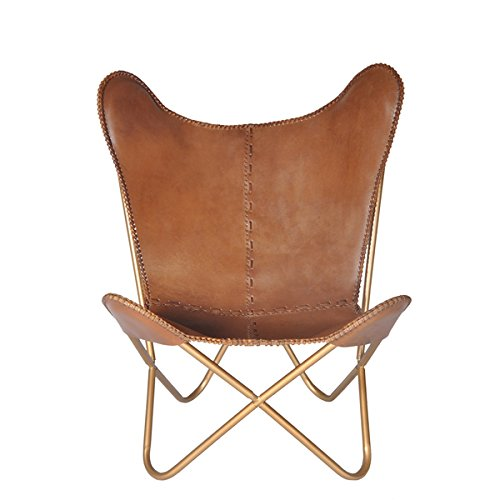 Simply sophisticated in form, Safari Chestnut Leather Butterfly Chair by Horizon