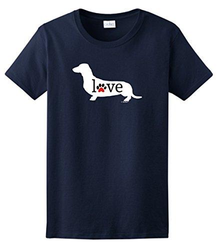 Dog Breed Gifts Dachshund Wiener Dog Love Paw Prints Ladies T-Shirt Medium ()