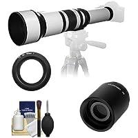 Samyang 650-1300mm f/8-16 Telephoto Lens (White) (T Mount) with 2x Teleconverter (=2600mm) + Cleaning Kit for Nikon 1 J1, J2 & V1 Digital Cameras