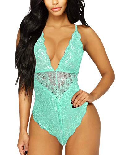 Kitty-Kitty V-Neck See Through Lingerie Floral Lace Babydoll Sexy Lingerie for Women One Piece Bodysuit Mint XX-Large
