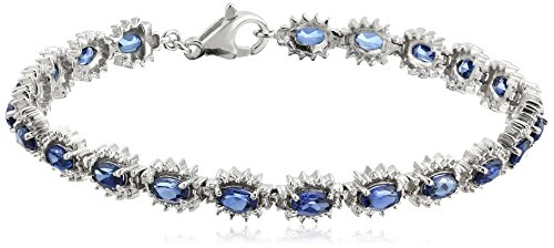 Sterling Silver Created Ceylon Sapphire Oval Shape with Diamond Accent Lady Di Style Bracelet, 7.5'' by Amazon Collection