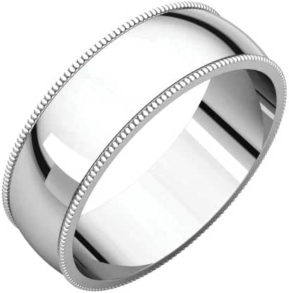 Platinum 6mm Light Milgrain Band, Ring Size 7