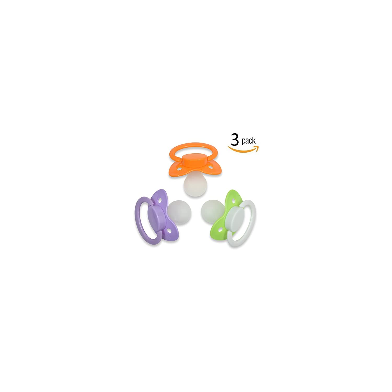 Adult Sized Pacifier ABDL Dummy for Adult Babies Three Color Pack Crazy Green Purple Lust & Shy Orange
