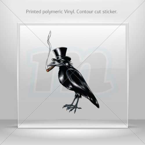 Tablets Smoking 60 (Decal Sticker Crow With Hat Smoking Cigar Tablet Laptop Weatherproof Sports M (7 X 4.49 In))