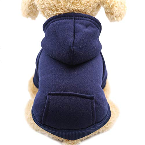 Aprobu Dog Clothes Pet Dog Hoodies Coat Soft Fleece Warm Puppy Clothes for Small Dogs Vest Chihuahua Clothes Coat Jacket Sweatshirts Puppy Outfits Cat Clothing Dogs Clothing (XS, NavyBlue)