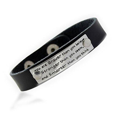 MIKINI Unisex Inspirational Genuine Leather Bracelet Engraved Motivational Saying Bracelet Wristband
