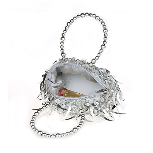 Mini Rebordeado Lentejuelas Bolso De Mano Manera Bolso De Tarde Vestido Bolso Del Banquete Cheongsam Novia Bolso De Mano Silver