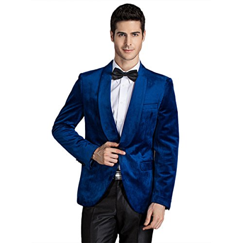 Mens Double Breasted Two Button Closure Collar Corduroy Blazer Jacket Royal -